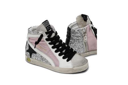 Kids Golden Goose Slide Laminated Sneaker - Pink/Glitter