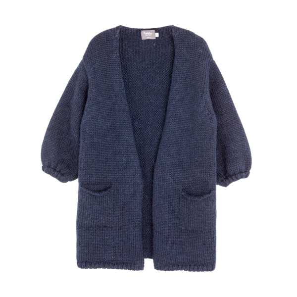 Tocoto Navy Knitted Coat - Coucou Boston