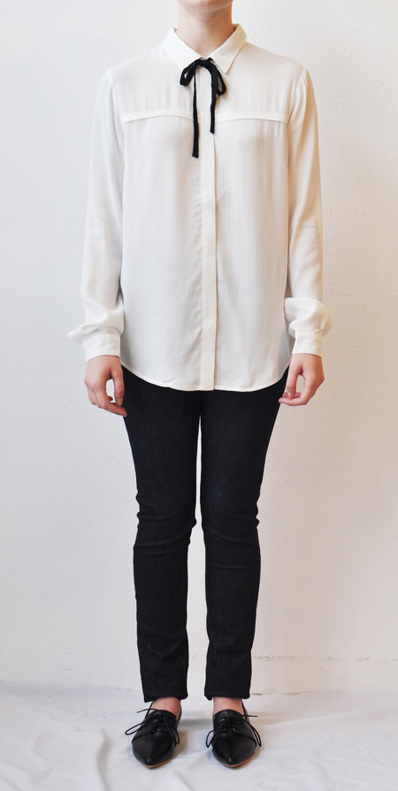 "Just Female ""Barbro"" White Blouse w/ Black Tie Neck"