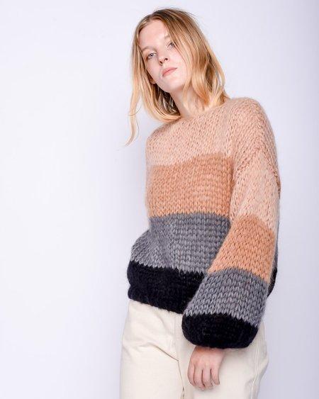 Maiami Mohair big Sweater - Camel/Grey