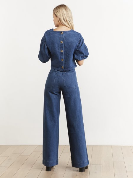 THE ODELLS Everly Button Back Top - Indigo
