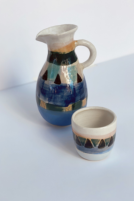 A.Cheng Painted Triangle Pitcher Set