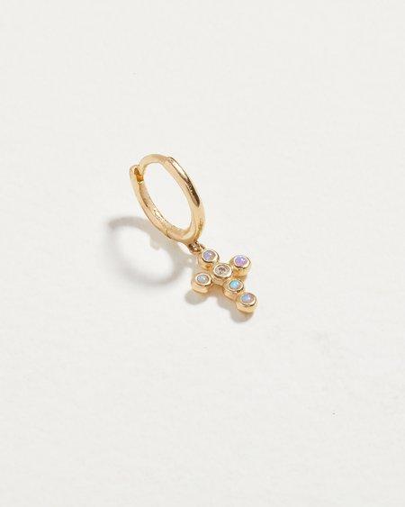 Pamela Love Piercing SINGLE Cross Cluster Huggie Earring - 14k gold/diamond/opal