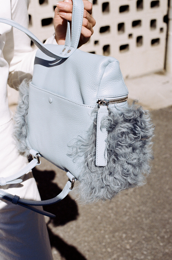 Kara Shearling Small Backpack - sky blue