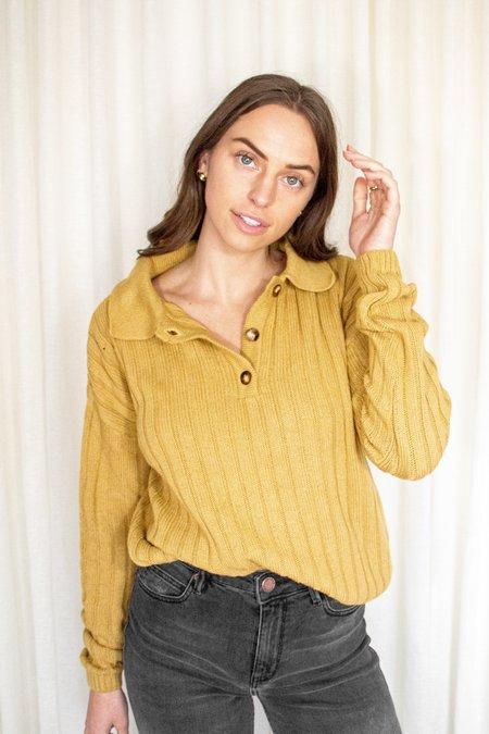 Rita Row Frida Knit Long Sleeve Polo - Mustard Yellow