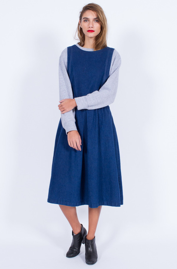 Yo Vintage! DENIM PINAFORE DRESS (MED-LARGE)