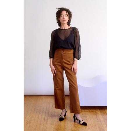 Ali Golden Cotton Fly Front Pants w/ Pockets - Copper