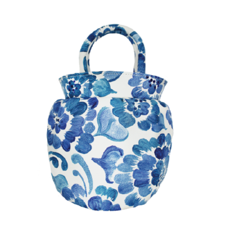 Dauphinette Chinoiserie Vase Tote - White/Blue