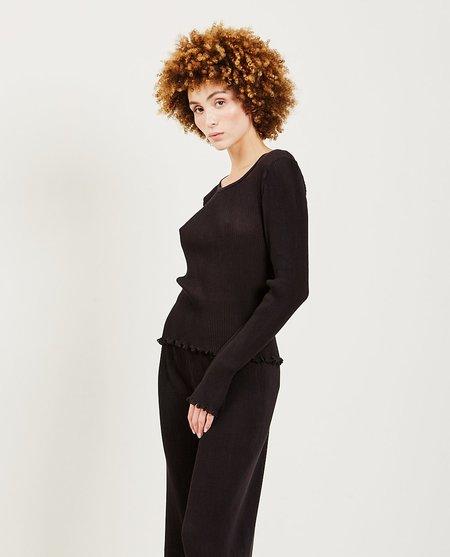 Priscavera Long Sleeve Pleated Top - Black