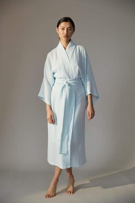 Laing Home Reed Cotton Kimono Robe - Misty Jade