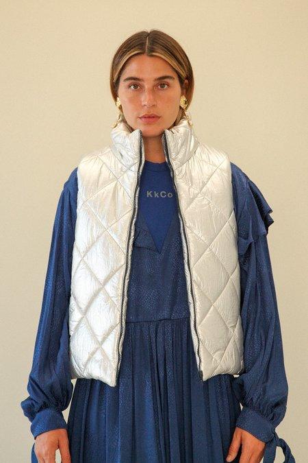 Kk Co Studio Quilted Puff Vest - Foil