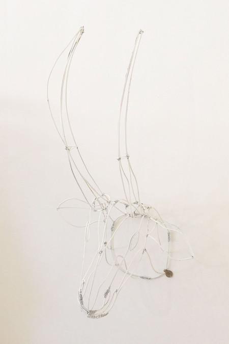 7 on Locust Wire Gazelle Head - White