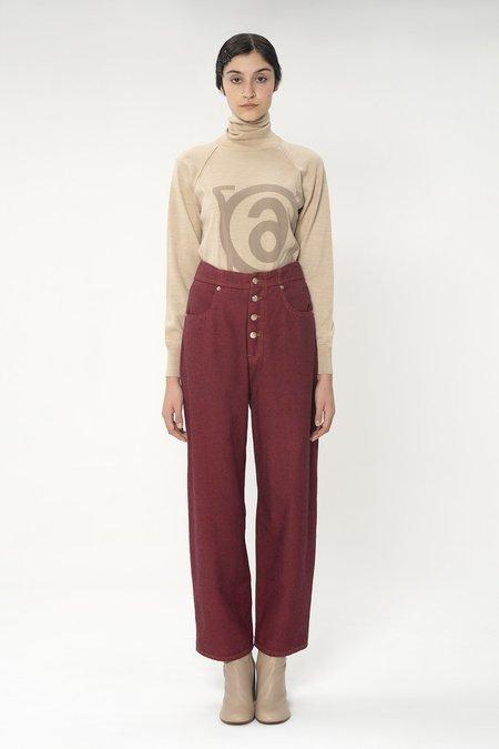 MM6 Maison Margiela High Waisted Wide Leg Jeans - Red Wine