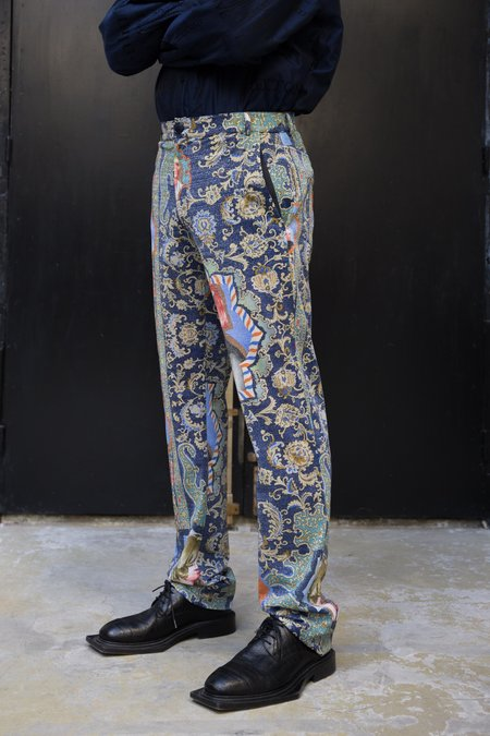 Martine Rose Lurex Straight Leg Trouser - Blue Dragonfly Printed