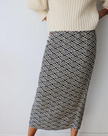 [Pre-loved] Apiece Apart Embroidered Midi Skirt - Black/Cream