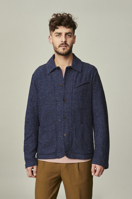 delikatessen Mix of Cotton, Wool and Silk Over-Shirt - Blue