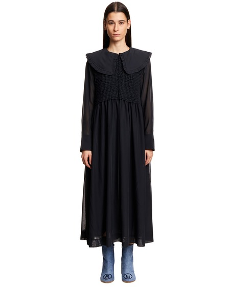 GANNI Oversize Dress with Ruches - Black