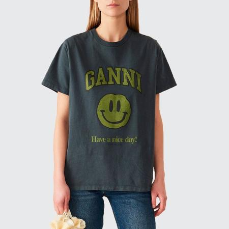 Ganni Cotton Jersey Happy Face Tee - Phantom