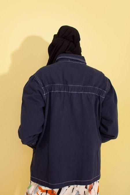 L.F.Markey Puff Sleeve Chore Coat - Navy Denim