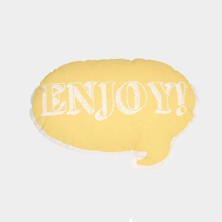 Ah, Quel Plaisir! Yellow Enjoy Pillow - Dodo Les Bobos