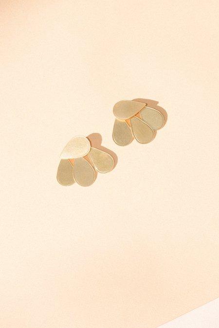 Annie Costello Brown Raj Earrings - gold/brass