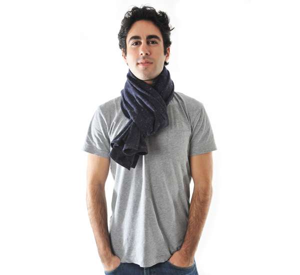 Navy Wool Galaxy Blend Scarf by The Hill-Side