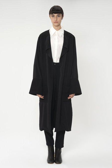 DIGITARIA Bi-material collarless coat - Black