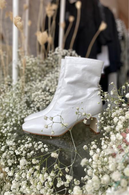 """INTENTIONALLY __________."" Etta Boots - White"