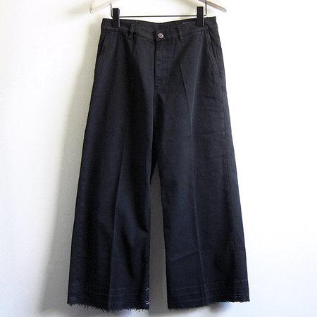 European Culture Wide-leg Twill Pant - Black