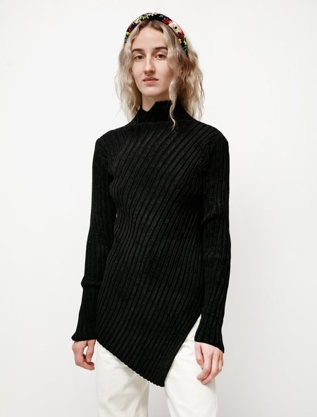 Y's by Yohji Yamamoto Asymmetric Rib Chenille Knit sweater - Black
