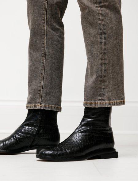 Robert Clergerie Raphi Stamped Croco Flat Boot - Black