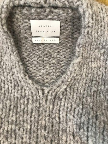 Lauren Manoogian Handknit Vneck Sweater - Silver Melange