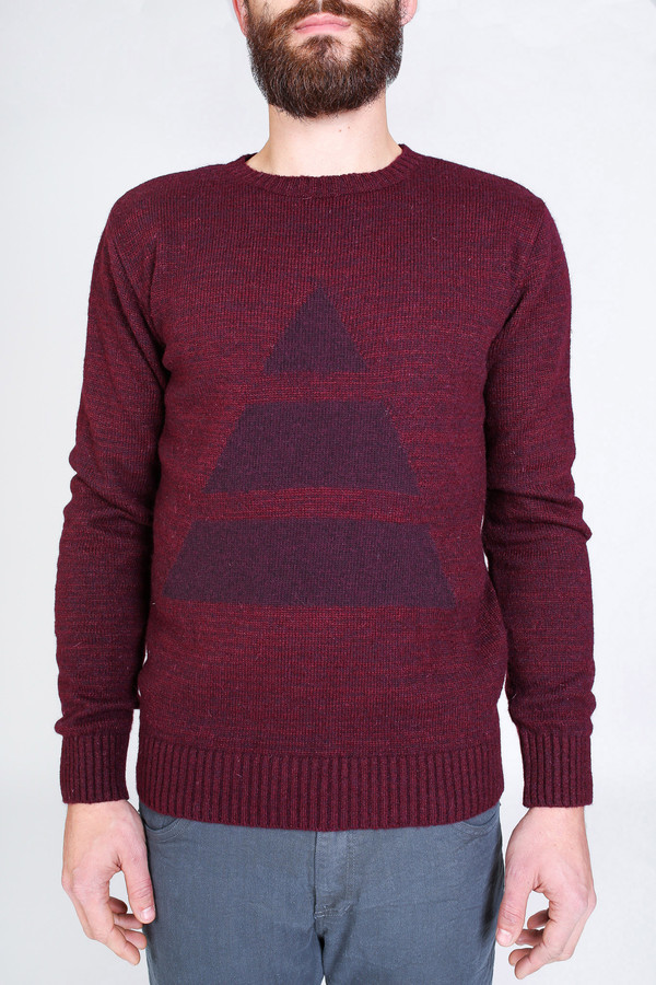 Men's Oliver Spencer Shapes crew in Burgundy