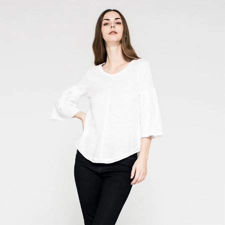 Wilt Shrunken Shirttail Pleated Bell Sleeve - White