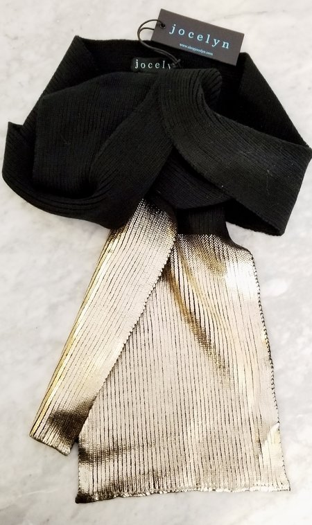 Jocelyn Fur Knit Ombre Metallic Scarf - Gold
