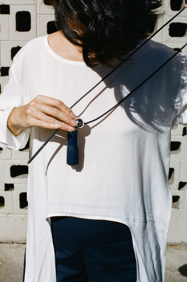 Building Block Tassel and Pen Necklace - navy