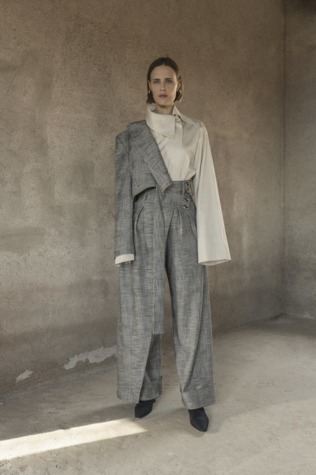 K M by L A N G E DECONSTRUCTED WOOL PLAID WIDELEG PANTS - GRAY