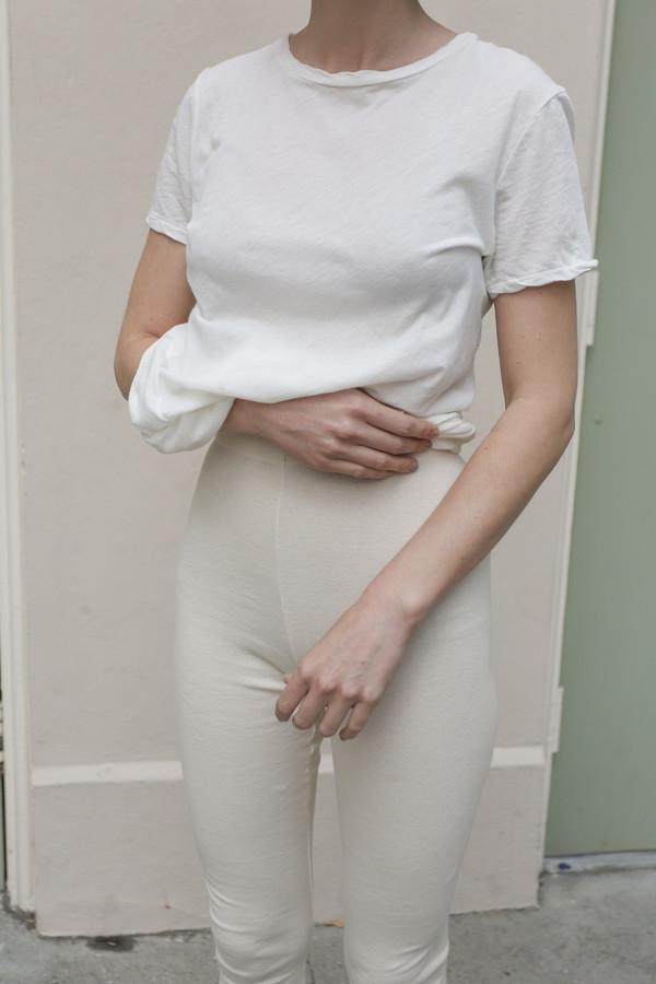 Lauren Manoogian Cashmere Rib Leggings in Bone