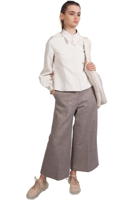 Kindersalmon Cropped Structured Pants - Stone Grey