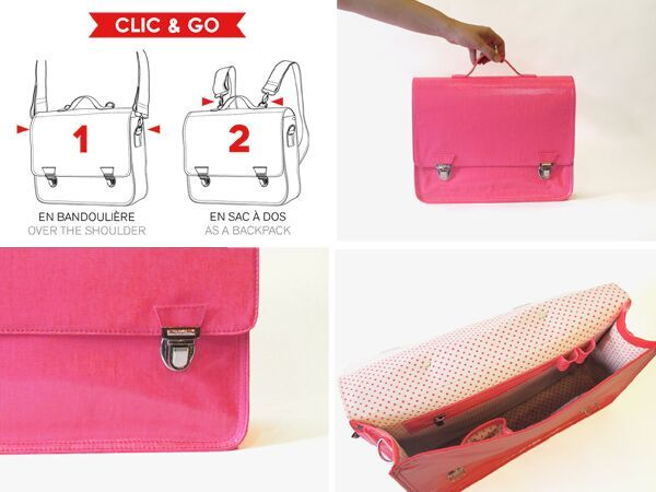 Miniseri Medium Glossy Pink School Bag - Dodo Les Bobos