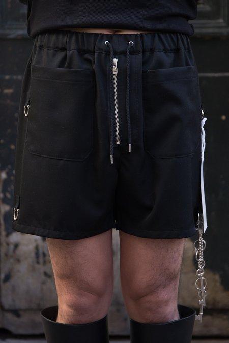 The Soloist. Wool Gabardine Pajama Short Trunks - Black