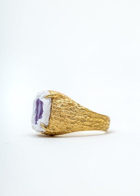 SWEETLIMEJUICE Denim Oval Planet Signet Ring - Gold/ White Denim/Purple Stone