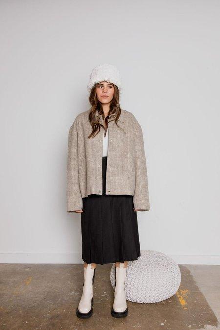 JOWA. Handmade Check Pattern Wool Coat - Light Gray