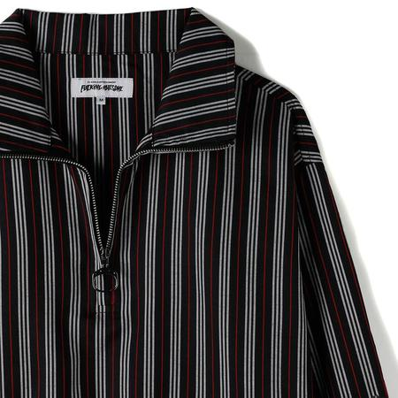 Fucking Awesome Mid Zip Woven Track Shirt - Black / Red