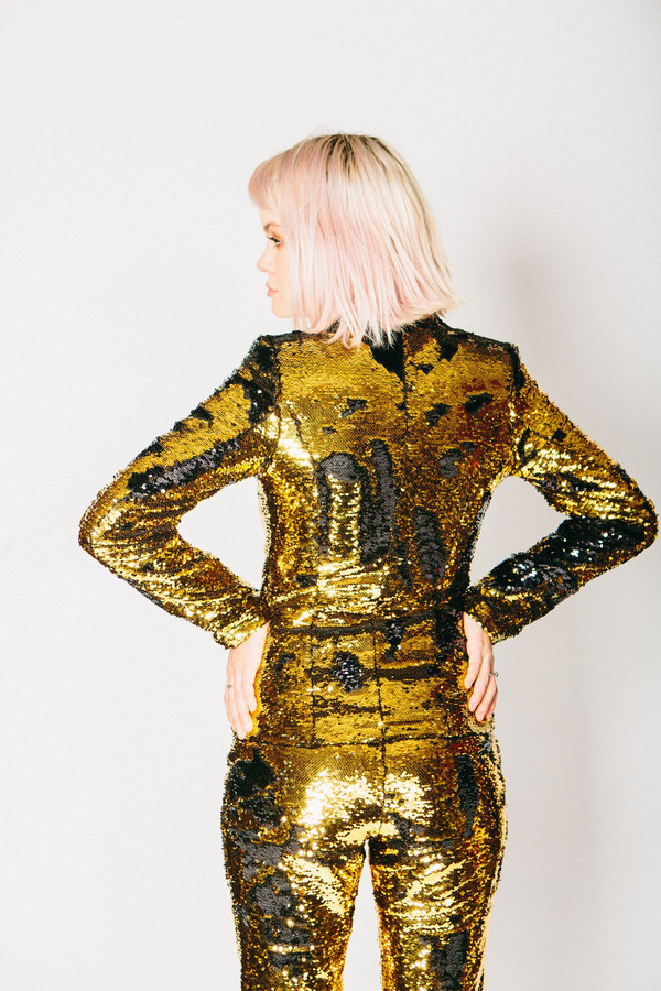 Any Old Iron Gold/Black Sequin Suit Jacket