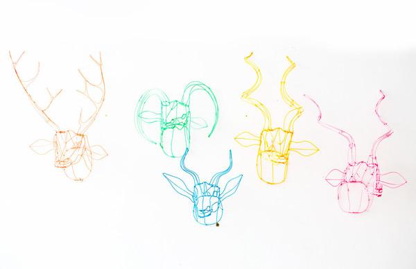 7 on Locust Wire Nyala Head - Pink
