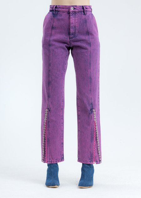 Y/project Short Length Button Leg Jeans - Pink Multi