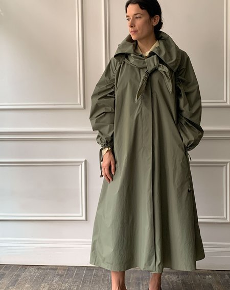 Veronique Leroy Taffeta Trench Coat - olive green