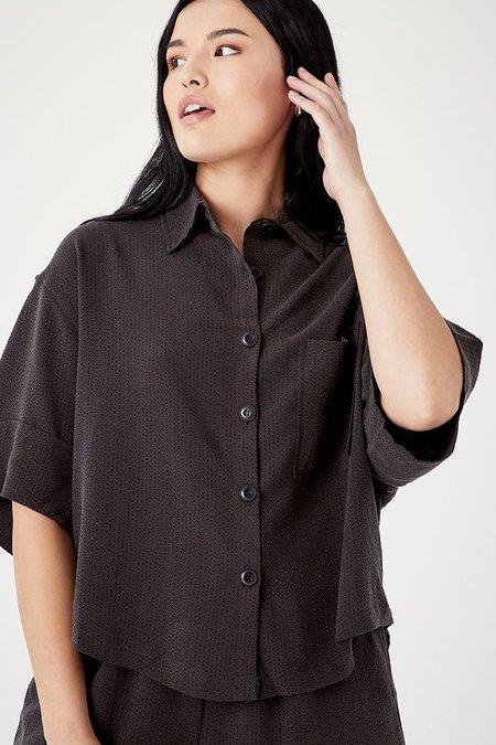 BACK BEAT RAGS Seersucker Pajama Top - Vintage Black