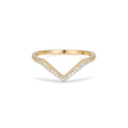 Adina Reyter Pavé Diamond V Ring - 14k yellow gold